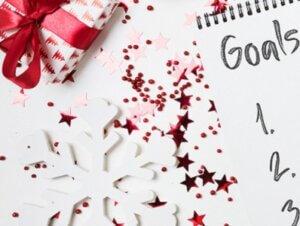 goal sheet alongside christmas decorations