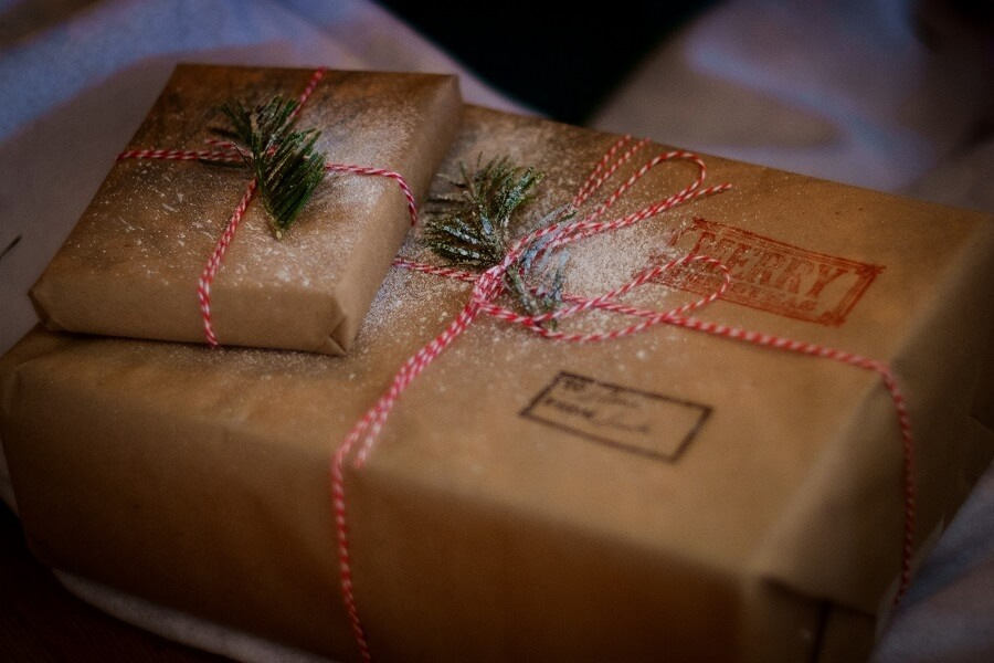 Christmas packages wrapped in brown paper