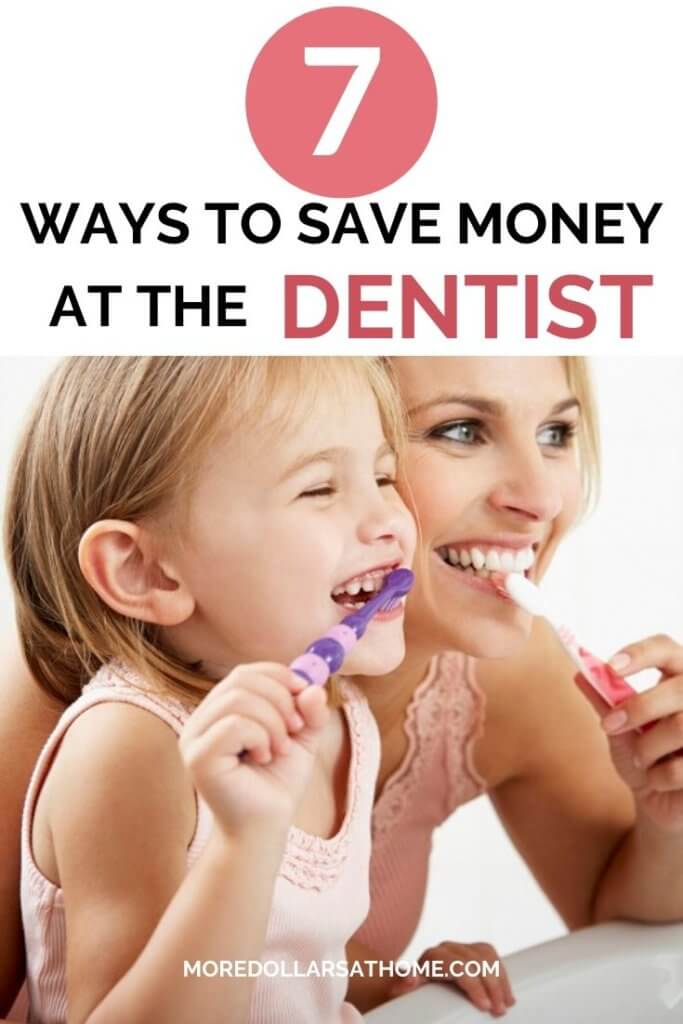 mom and daughter brushing teeth to save money at the dentist