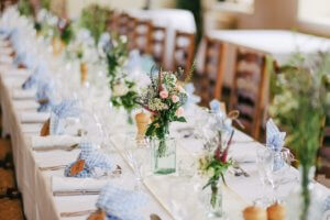 a country style wedding reception table
