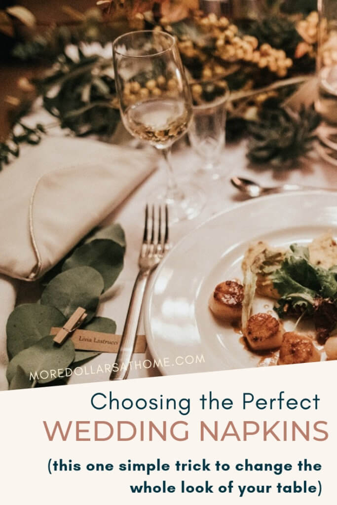 This one simple trick will help you pick the right color of dinner napkins for your wedding reception. Cloth napkins or paper napkins, these tips will help you decide. #wedding #dinnernapkins #weddingnapkins #cocktailnapkins #celebrate