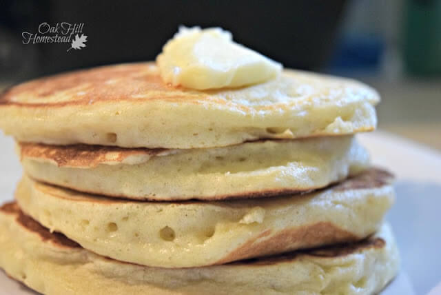 a stack of fluffy homemade pancakes are great for breakfast