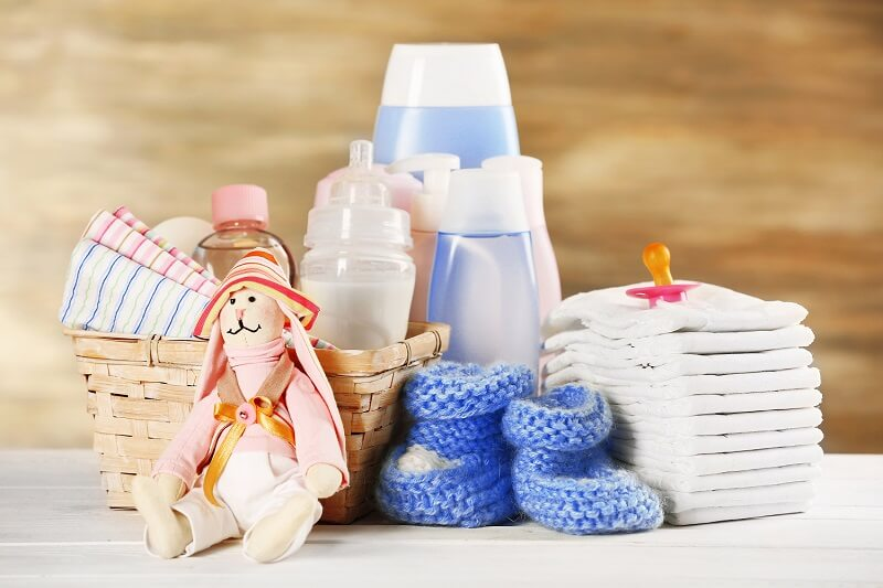 baby supplies on a counter