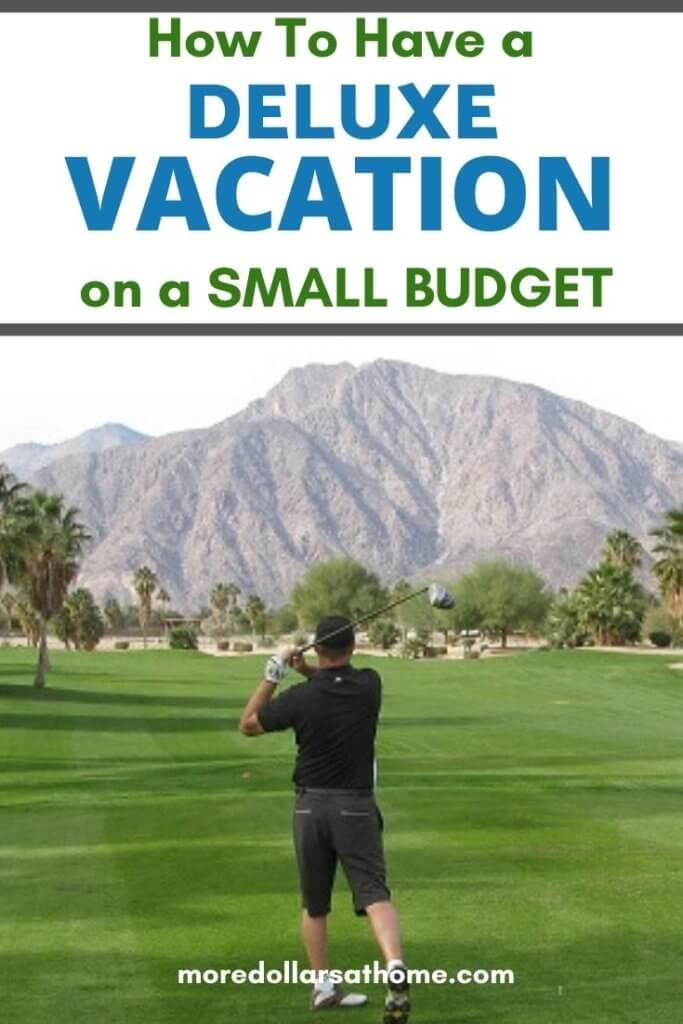 man golfing on vacation