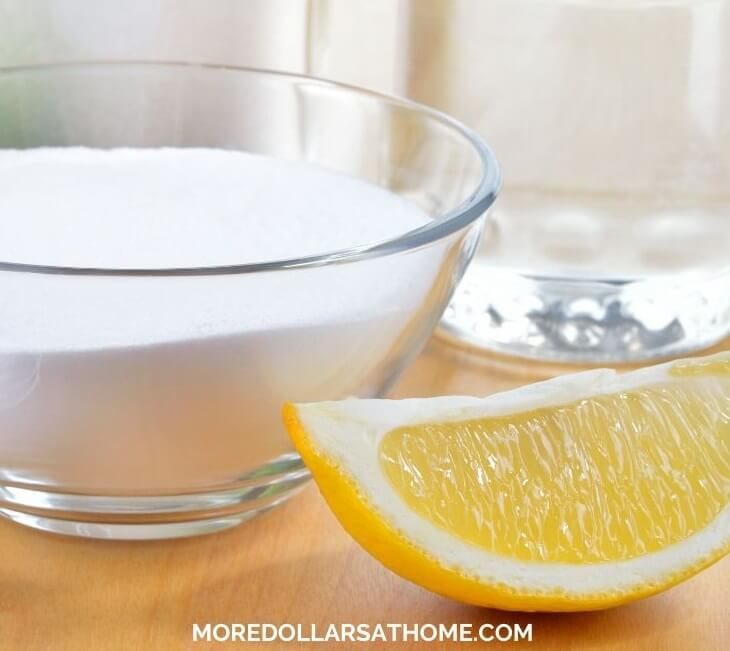 Baking soda and lemon ready for mixing to clean the entire house