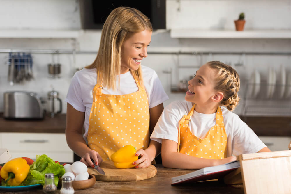mother and daughter chefs for a day during family staycation
