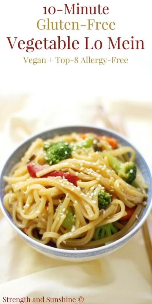 A finished dish of Lo Mein ready in 15 minutes
