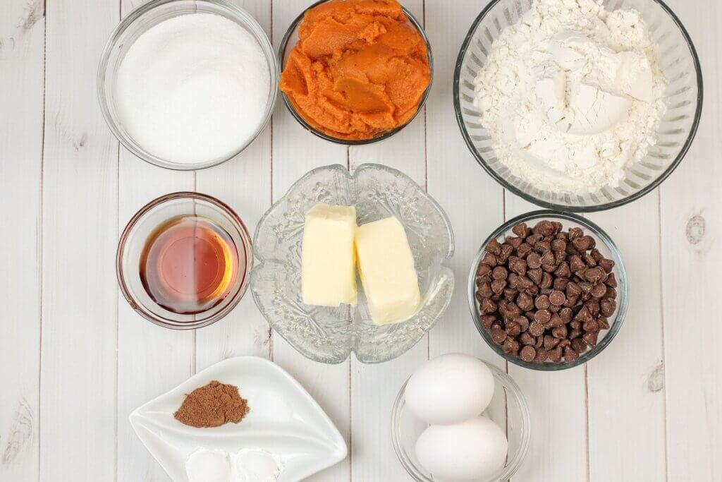 ingredients ready to make pumpkin chocolate chip muffins