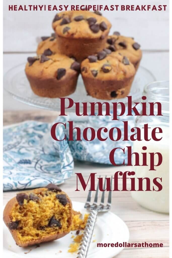 Pumpkin Chocolate Muffins sit on a serving plate
