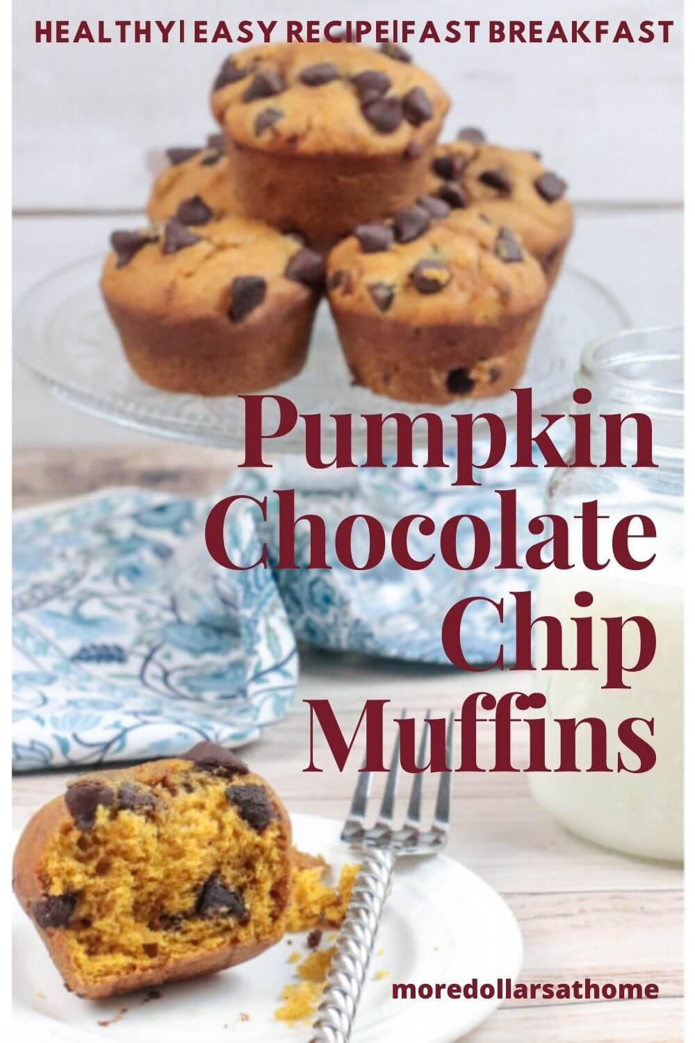 Pumpkin Chocolate Muffins sit on a serving plate.