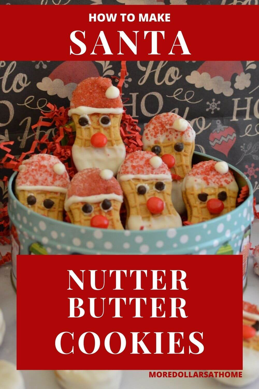 A tin full of Santa Claus cookies.