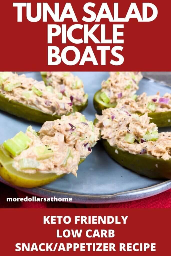 Tuna Salad Pickle Boats on a Platter