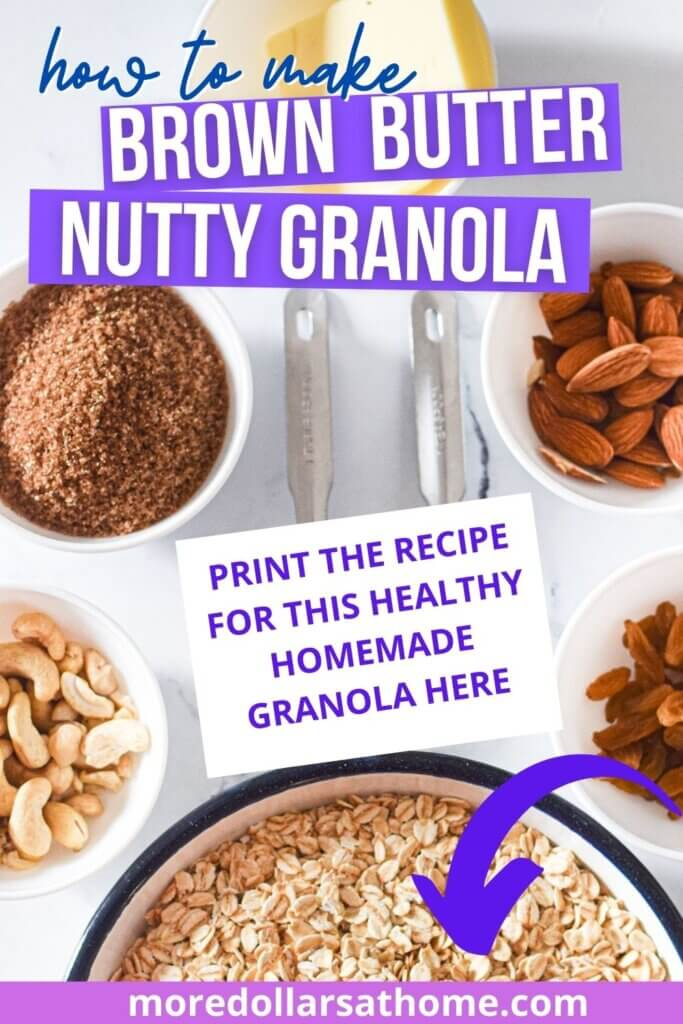 Brown Butter Nutty Granola ingredients on a counter